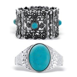 2-Piece Turquoise Silvertone Bracelet Set