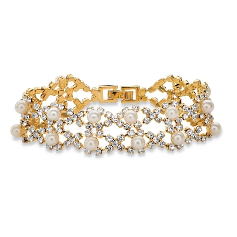 """Gold Tone Strand Bracelet (17mm), Box Clasp, Lucite and Crystal, 7"""""""