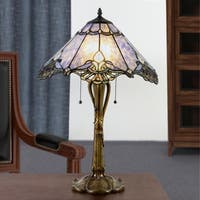 """24.75""""H Stained Glass Victorian Crystal Lace Table Lamp"""