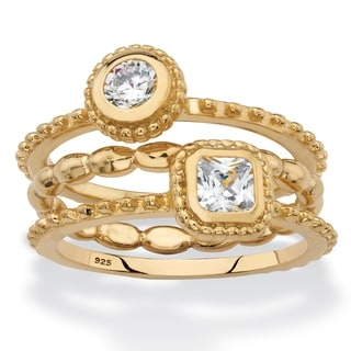 Gold over Sterling Silver Round 3 Piece Set Stack Ring Cubic Zirconia