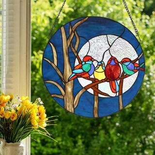 "16""H Birds in the Night Sky Round Stained Glass Window Panel"