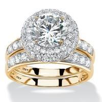 10K Yellow Gold Round Bridal Ring Set Cubic Zirconia