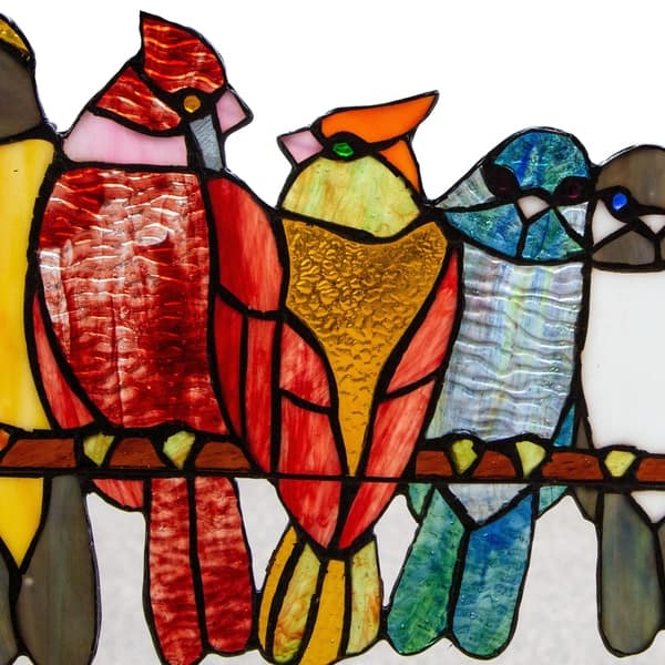 Shop 9 5 H Birds In Love Stained Glass Window Panel 15 L X 0 25 W X 9 5 H On Sale Overstock 23590881
