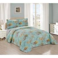 Sea Garden Reversible Quilted Bedspread & Shams Set