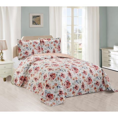 Fall Robin Reversible Quilted Bedspread & Shams Set - Multi