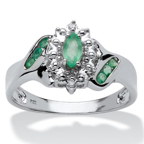 Platinum over Sterling Silver Genuine Emerald and Diamond Accent Ring