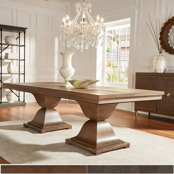 Monaco Scratch Resistant Extending 118 Inch Rectangular Wood Dining Table With Leaf By INSPIRE Q