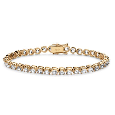 "10K Yellow Gold Tennis Bracelet (4mm), Round Cubic Zirconia, 7.25"""