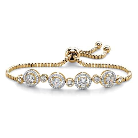 "Yellow Gold-Plated Halo Strand Bracelet (8mm), CZ, 9"" Adjustable"