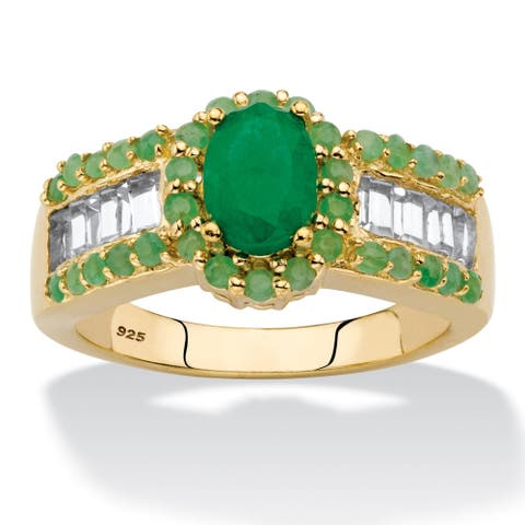 Yellow Gold over Sterling Silver Genuine Emerald and Topaz Ring
