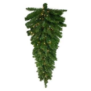 "42"" Pre-Lit Canadian Pine Xmas Teardrop Door Swag - Clear Lights"