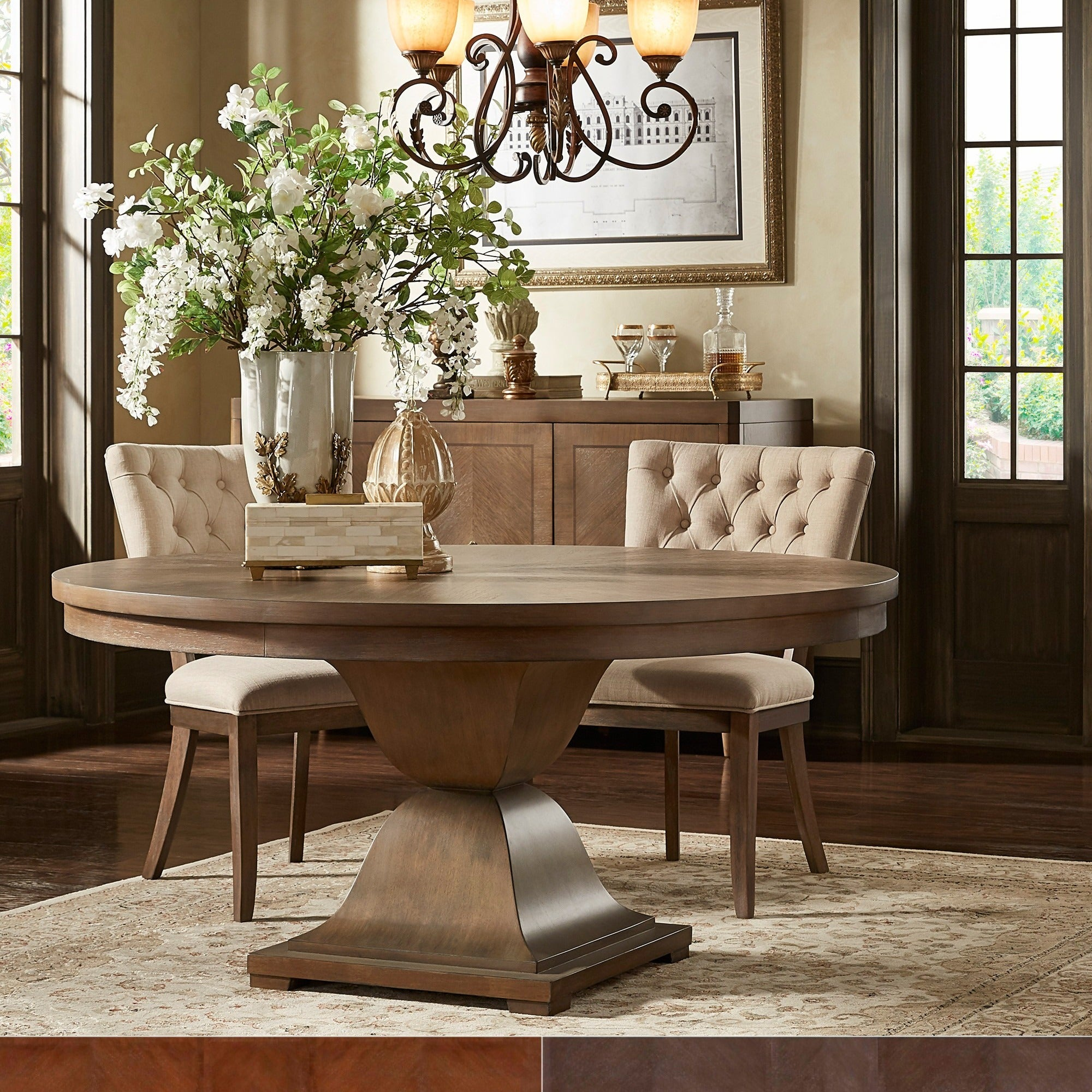 Monaco Scratch Resistant 60 Inch Round Wood Dining Table By INSPIRE Q  Artisan
