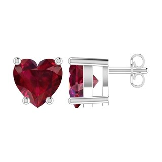 Solid Sterling Silver 5mm Heart Shaped Earrings In Multiple Gemstones
