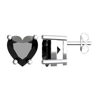 Solid Sterling Silver 5mm Heart Shaped Earrings In Multiple Gemstones