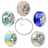 Pacific  925 Sterling Silver Murano Glass Beads 5 Pack with Bracelet - 7.5 inches