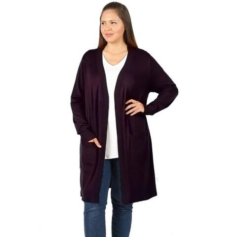 JED Women's Plus Size Soft Viscose Knit Cardigan