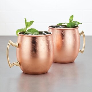 Ayesha Barware Copper Moscow Mule Mugs Set of 2 Etched Diamond Pattern