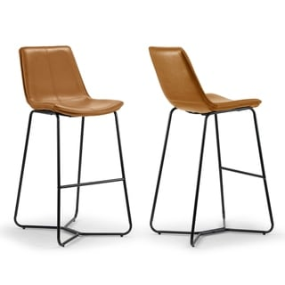 Link to Amery Iron Frame Vintage Cappuccino Faux Leather Bar Stool (Set of 2) Similar Items in Dining Room & Bar Furniture