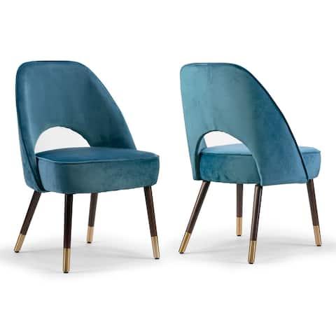 Set of 2 Amber Blue Velvet Modern Dining Chair with Beech Wood Legs