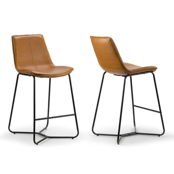 Amery Cappuccino Faux Leather and Iron Counter Stool (Set of 2). Opens flyout.
