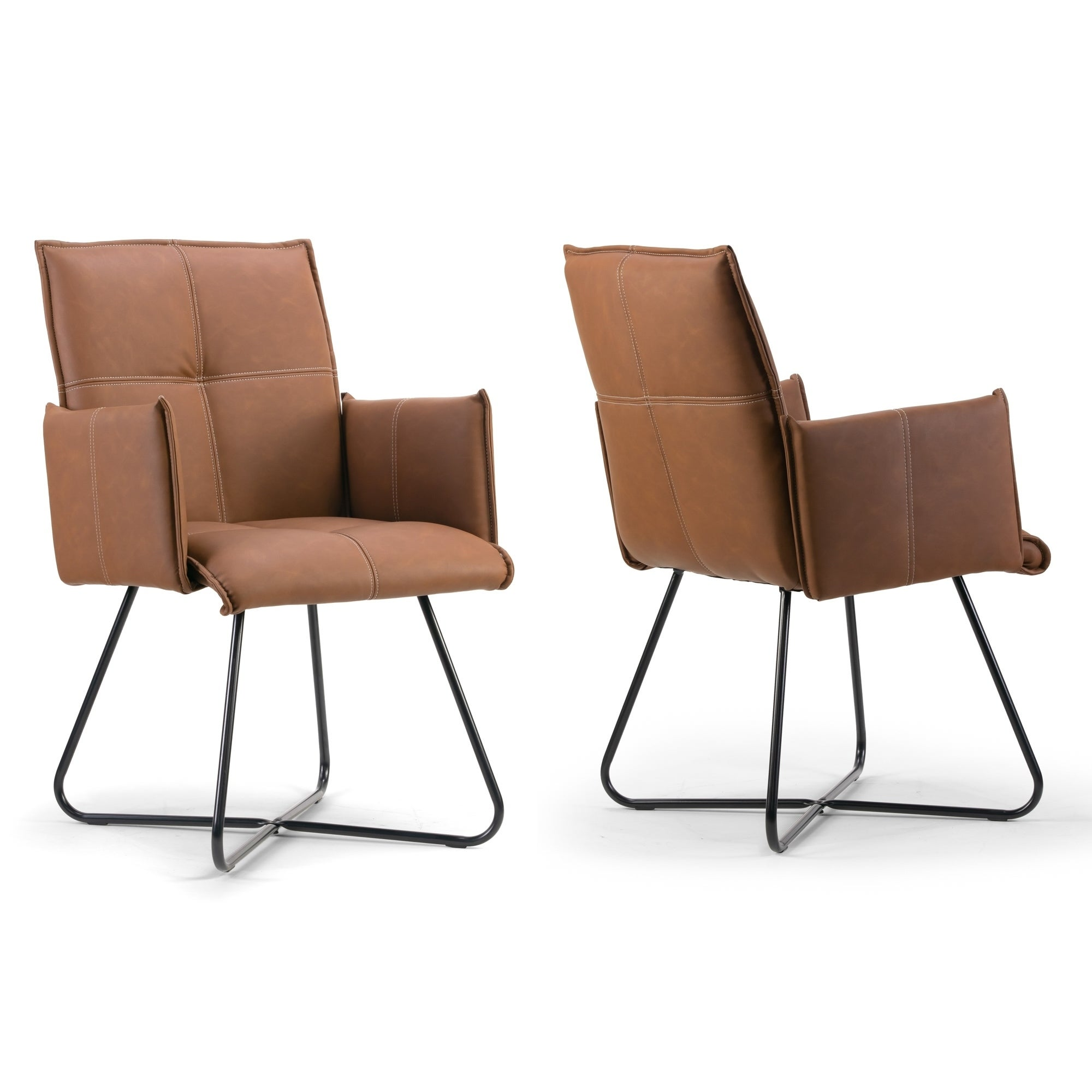 Picture of: Set Of 2 Ambel Brown Modern Dining Chair With Black Metal Legs Overstock 23591177