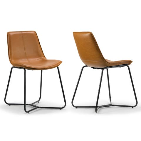 Set of 2 Amery Iron Frame Vintage Cappuccino Faux Leather Dining Chair