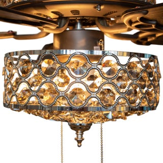 """52""""W Celestine Crystal and Chrome Beaded Ceiling Fan with Remote"""