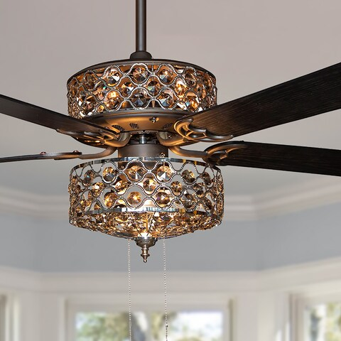 Copper Grove Krrabe 52-inch Crystal and Chrome Beaded Ceiling Fan with Remote