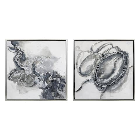 Abstract Hand Painted Framed Gallery Wrapped Canvas (Set of 2) - Silver - 31.5 x 31.5