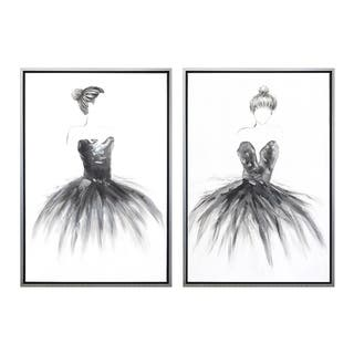 Ballerinas Hand Painted Framed Gallery Wrapped Canvas (Set of 2) - Silver - 25.6 x 37.4