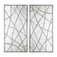 Lines Pattern Hand Painted Framed Gallery Wrapped Canvas (Set of 2) - Silver - 23.62 x 47.24