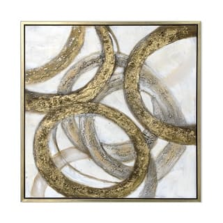 Gold Rings Hand Painted Framed Gallery Wrapped Canvas - 39.4 x 39.4
