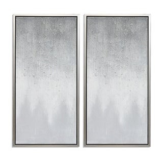 Twilight Hand Painted Framed Gallery Wrapped Canvas (Set of 2) - Silver - 39.4 x 19.7
