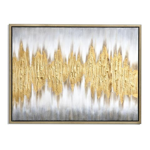 Gold Waves Hand Painted Framed Gallery Wrapped Canvas - 59.05 x 47.24
