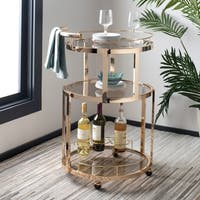 "Safavieh Rio 3 Tier Round Bar Cart-Gold / Tea - 22.1"" x 19.7"" x 34.3"""