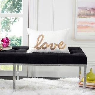 Safavieh First Comes Love Decorative Pillow- Gold / Beige