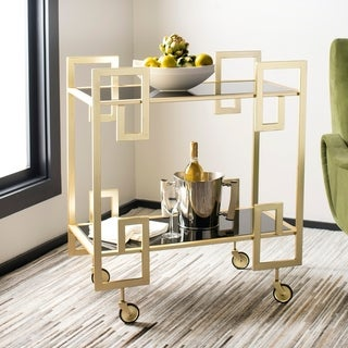 "Safavieh Eliza 2 Tier Bar Cart-Brass / Glass - 31.3"" x 16"" x 33"""