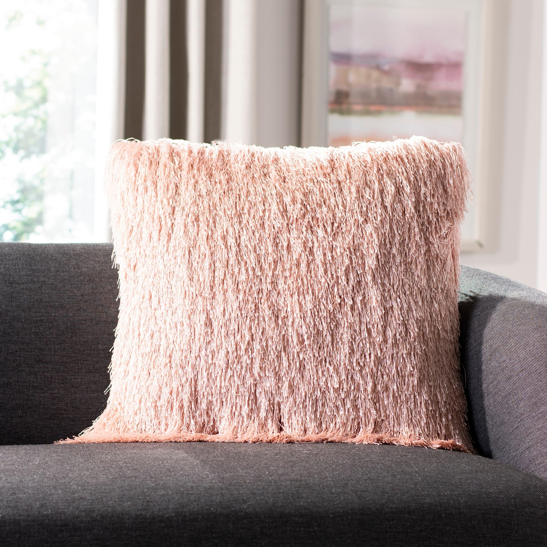 Safavieh Indoor Outdoor Shag Decorative Pillow Blush On Sale Overstock 23591337