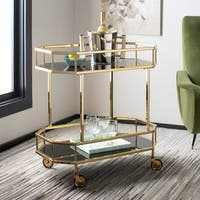 "Safavieh Silva 2 Tier Octagon Bar Cart-Brass / Black - 29.6"" x 16.5"" x 29.8"""