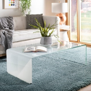 """Safavieh Crysta Ombre Glass Coffee Table-Clear / White - 47.2"""" x 25.6"""" x 16.5"""""""