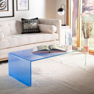 "Safavieh Crysta Ombre Glass Coffee Table-Clear / Blue - 47.2"" x 25.6"" x 16.5"""