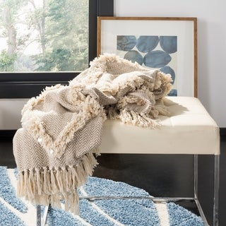 Link to Safavieh Lachlan Fringe Tufted Throw - Beige Similar Items in Blankets & Throws