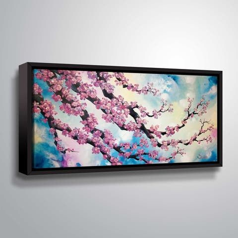 ArtWall Pink cherry blossom turquoise Gallery Wrapped Floater-framed Canvas - Blue