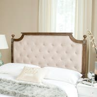 Safavieh Rustic Wood Beige Tufted Linen Queen Headboard - Beige / Rustic Oak