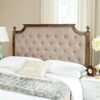 Safavieh Rustic Wood Taupe Tufted Linen Queen Headboard - Taupe / Rustic Oak