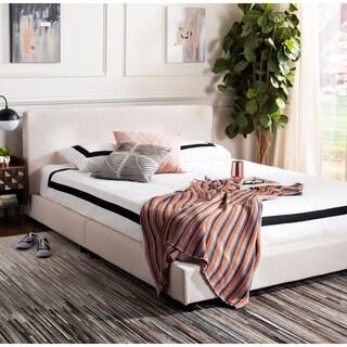 """Safavieh Linen Upholstered Queen Carter Bed - Light Beige - 66.5"""" x 91.5"""" x 34"""""""