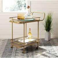 "Safavieh Gaia 2 Tier Rectangle Bar Cart-Rustic Oak / Gold - 30"" x 18"" x 32"""