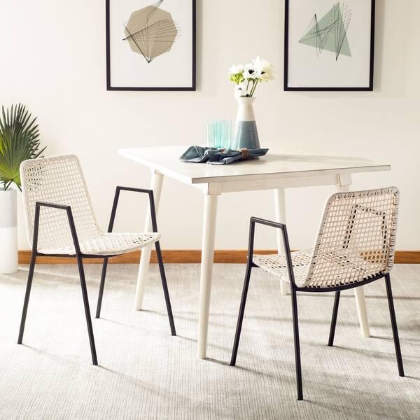 Safavieh Wynona Leather Dining Chair White Black On