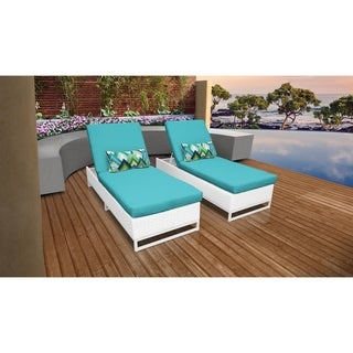 TK Classics Miami Timeless White Wicker Outdoor Chaise (Set of 2)