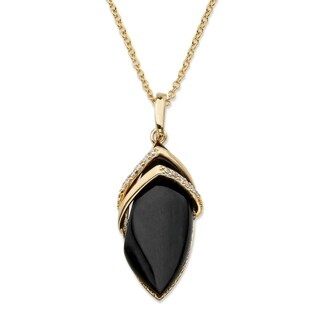 Yellow Gold-Plated Marquise Shaped Onyx and Cubic Zirconia Pendant